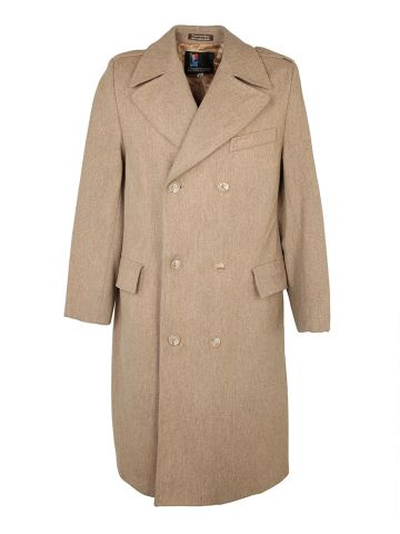 70s Camel Colour Double Breasted Overcoat - S