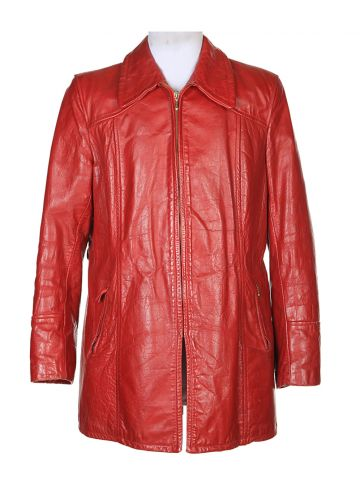 70's Red Leather Jacket - M
