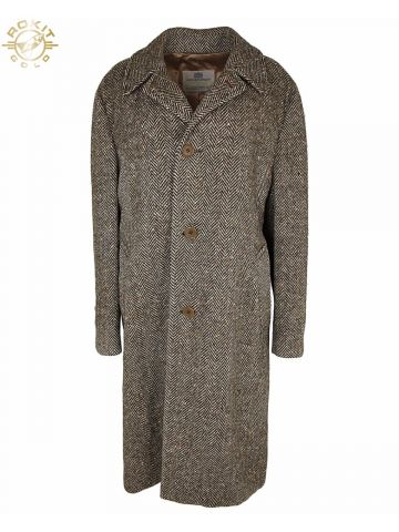 80s Aquascutum Herringbone Brown Wool Coat - XL