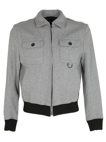 Hugo Boss Grey Wool Bomber Jacket - S