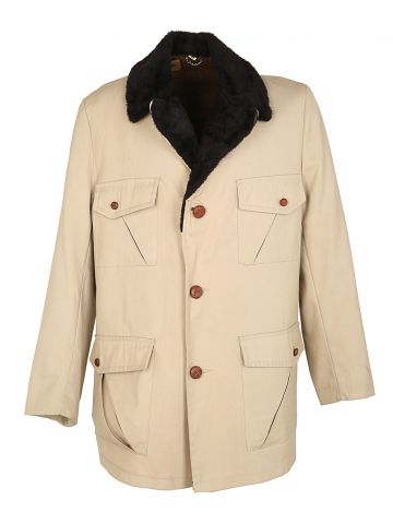 60s Beige Fleece Lined Jacket - M