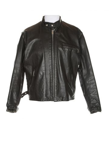 Schott Black Leather Biker Jacket - XL