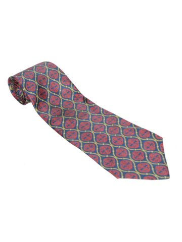 Harrods Red & Navy Patterned Silk Tie