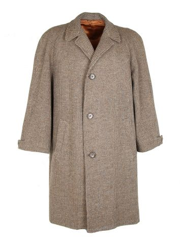 Vintage 50s Wool Harris Tweed Overcoat - L