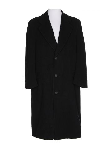 Navy Blue Wool Cashmere Coat - XL