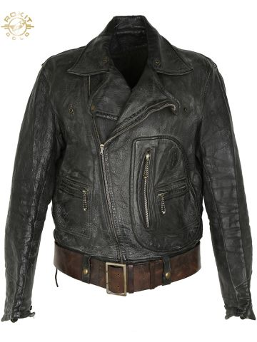Vintage 50s Belted Leather Harley Davidson Style Biker Jacket - S