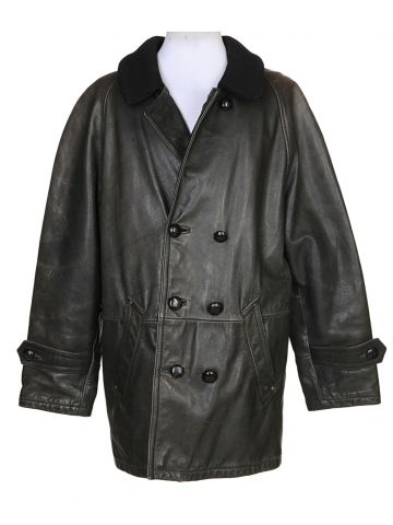 Armani Black Sheepskin Leather & Furlined Jacket - XL