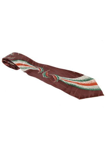 1940s Brown Silk Tie with Swirling Leaf Pattern