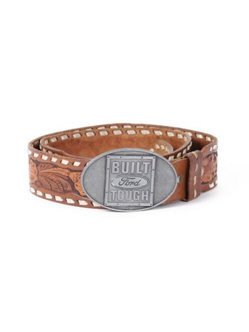 Sears Brown Hand Laced Tooled Leather Western Belt w/ Ford Buckle