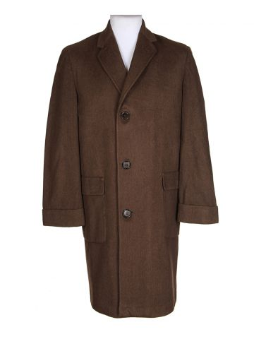 Vintage 60s Cashmere Wool Brown Barrymore  Overcoat – L