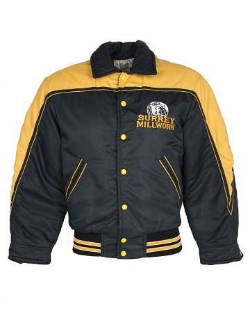 1980s Black and Yellow Bomber Jacket - M