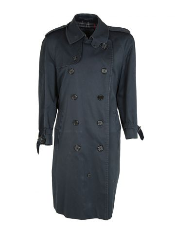 80s Vintage Burberry Navy Trench Coat - L